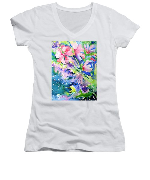 Pink Lavatera Profusion Women's V-Neck T-Shirt