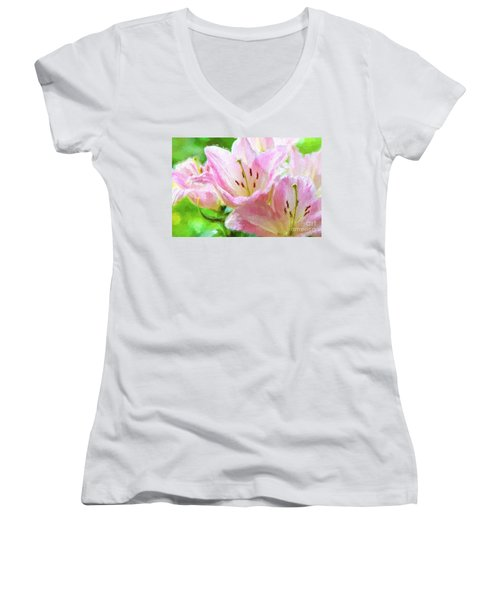Pink Lilies Digital Painting Impasto Women's V-Neck (Athletic Fit)