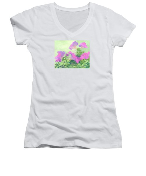 Pink Petunias Beautiful Flowers Art Colorful Original Garden Floral Flower Artist K. Joann Russell  Women's V-Neck T-Shirt