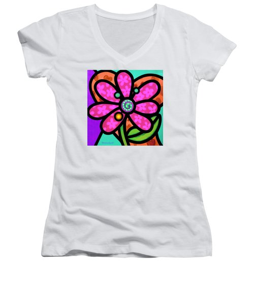 Pink Pinwheel Daisy Women's V-Neck (Athletic Fit)