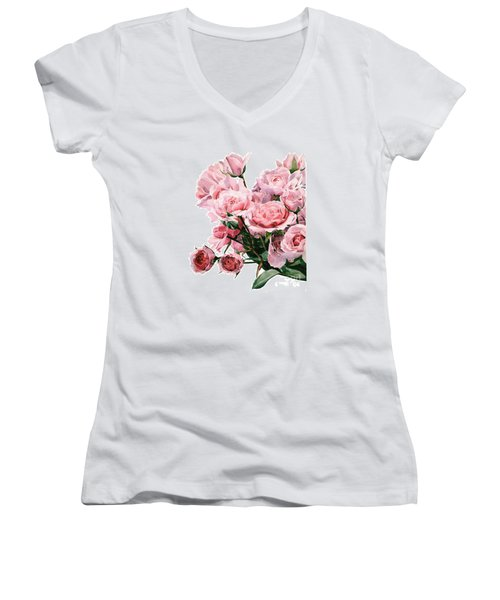 Pink Rose Bouquet Women's V-Neck T-Shirt (Junior Cut) by Greta Corens