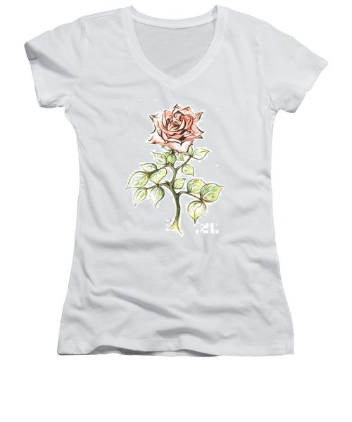 Pink Rose Women's V-Neck T-Shirt