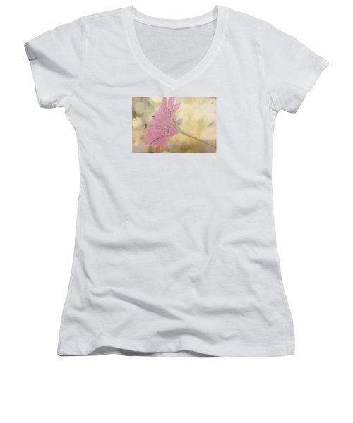 Pink Textured Gazania Women's V-Neck (Athletic Fit)