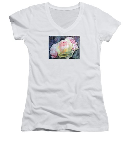 Pink Yellow Rose Angela Women's V-Neck T-Shirt (Junior Cut) by Greta Corens