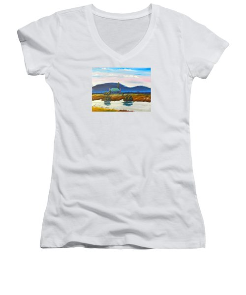 Women's V-Neck T-Shirt (Junior Cut) featuring the painting Pittown by Pamela  Meredith