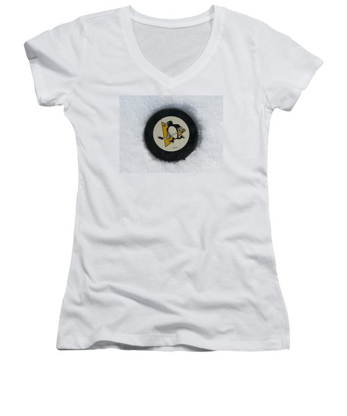 Pittsburgh Penguins Women's V-Neck T-Shirt (Junior Cut) by Michael Krek