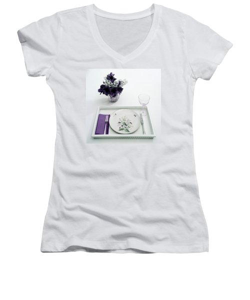 Place Setting With With Flowers Women's V-Neck
