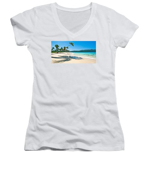 Playa Rincon Women's V-Neck T-Shirt (Junior Cut) by Renee Sullivan