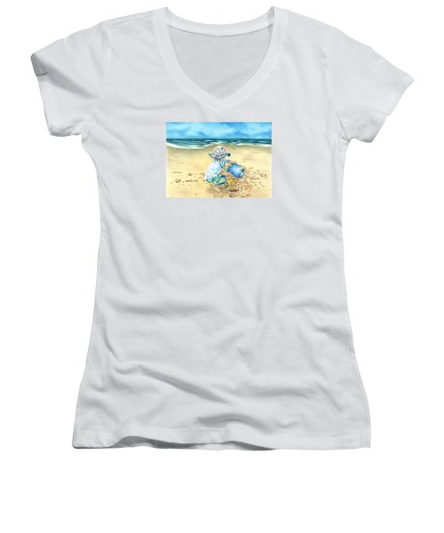 Women's V-Neck T-Shirt (Junior Cut) featuring the drawing Playing On The Beach by Troy Levesque