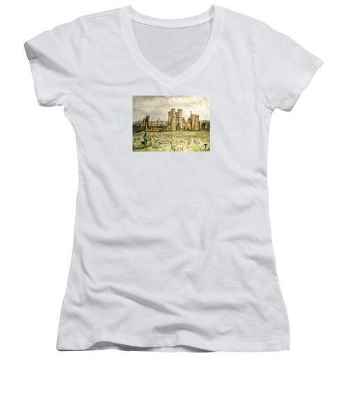 Plein Air Painting At Cowdray House Sussex Women's V-Neck T-Shirt (Junior Cut) by Angela Davies