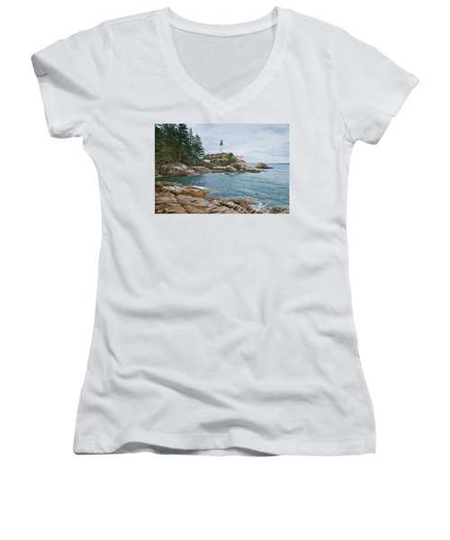 Point Atkinson Lighthouse And Rocky Shore Women's V-Neck T-Shirt (Junior Cut) by Jeff Goulden