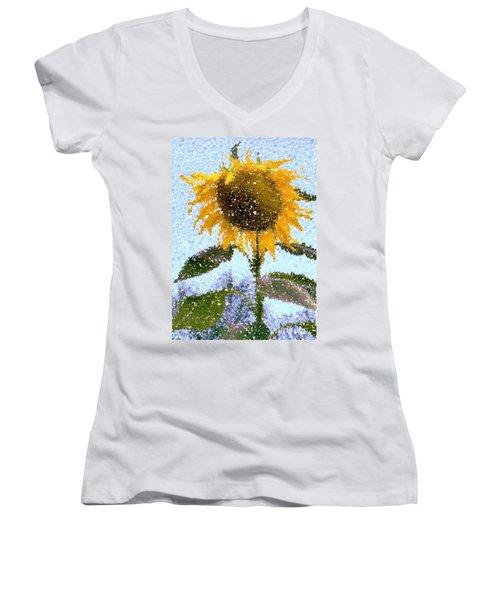 Pointillist Sunflower In Sun City Women's V-Neck T-Shirt (Junior Cut) by Barbie Corbett-Newmin