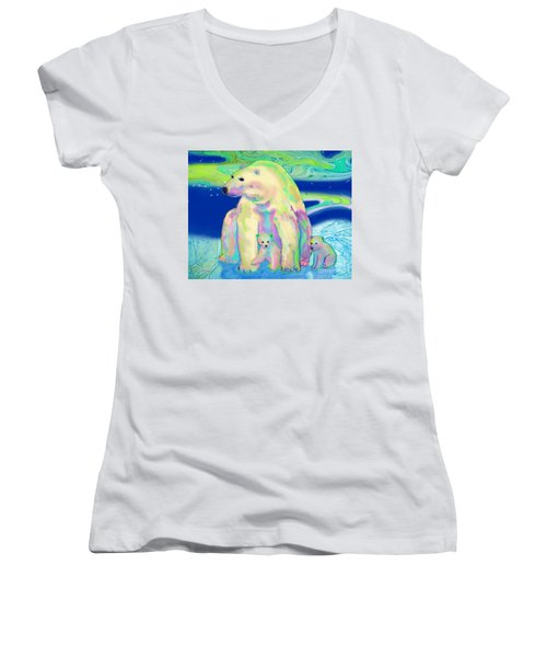 Women's V-Neck T-Shirt (Junior Cut) featuring the painting Polar Bear Aurora by Teresa Ascone