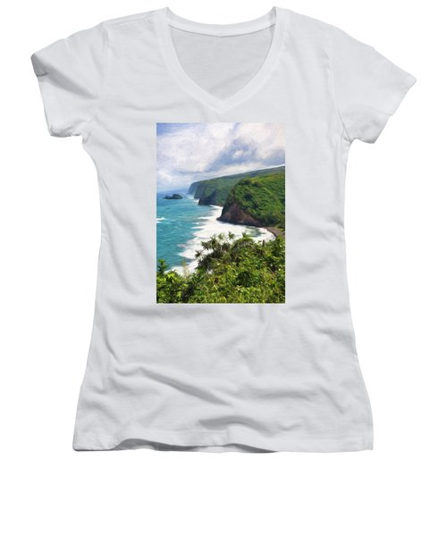 Pololu Valley Beach Women's V-Neck (Athletic Fit)