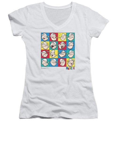 Popeye - Color Block Women's V-Neck T-Shirt