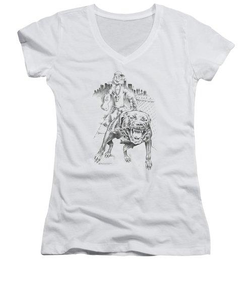 Popeye - Walking The Dog Women's V-Neck T-Shirt