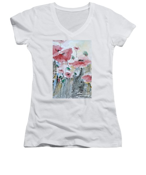 Women's V-Neck T-Shirt (Junior Cut) featuring the painting Poppies 01 by Ismeta Gruenwald