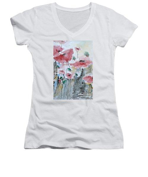 Poppies 01 Women's V-Neck T-Shirt