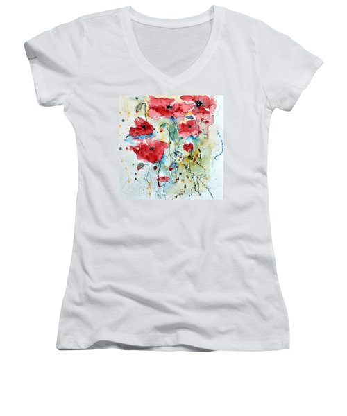 Women's V-Neck T-Shirt (Junior Cut) featuring the painting Poppies 04 by Ismeta Gruenwald