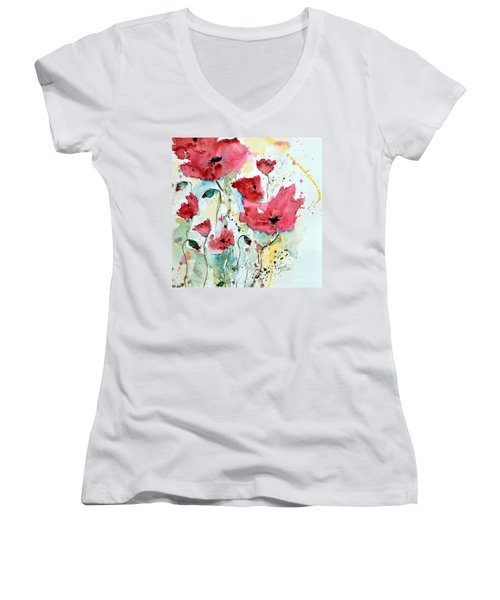 Women's V-Neck T-Shirt (Junior Cut) featuring the painting Poppies 05 by Ismeta Gruenwald