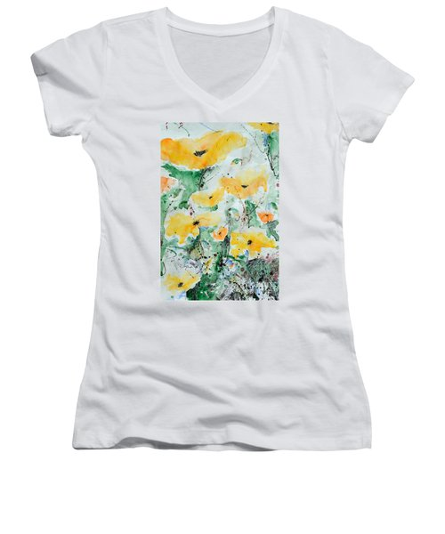Women's V-Neck T-Shirt (Junior Cut) featuring the painting Poppies 07 by Ismeta Gruenwald