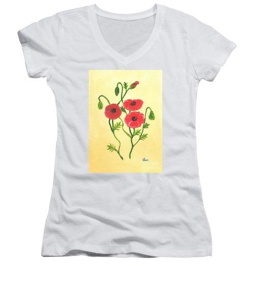 Poppies Women's V-Neck