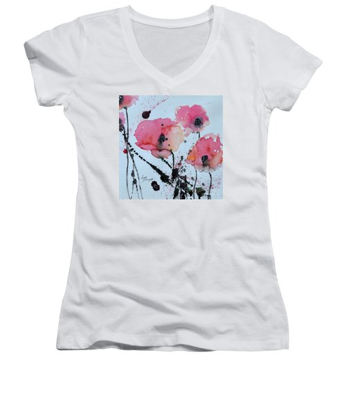 Poppies- Painting Women's V-Neck T-Shirt
