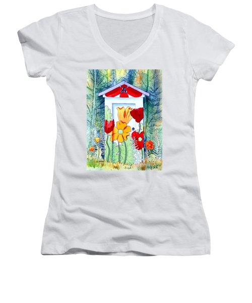 Poppy Potty Women's V-Neck T-Shirt (Junior Cut) by Teresa Ascone