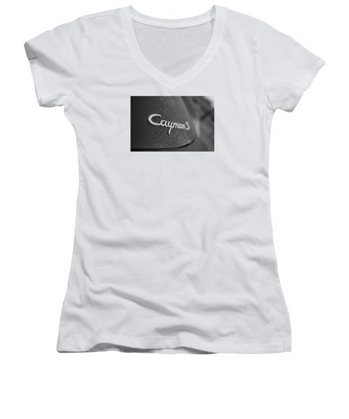 Women's V-Neck T-Shirt (Junior Cut) featuring the photograph Standing Porsche Cayman S by Miguel Winterpacht