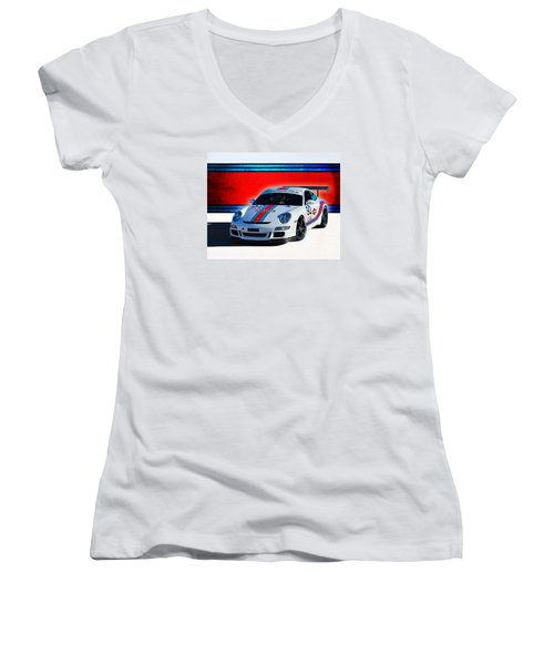 Porsche Gt3 Martini Women's V-Neck T-Shirt