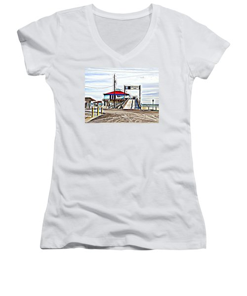 Women's V-Neck T-Shirt (Junior Cut) featuring the photograph Port Aransas Gulf Side by Antonia Citrino