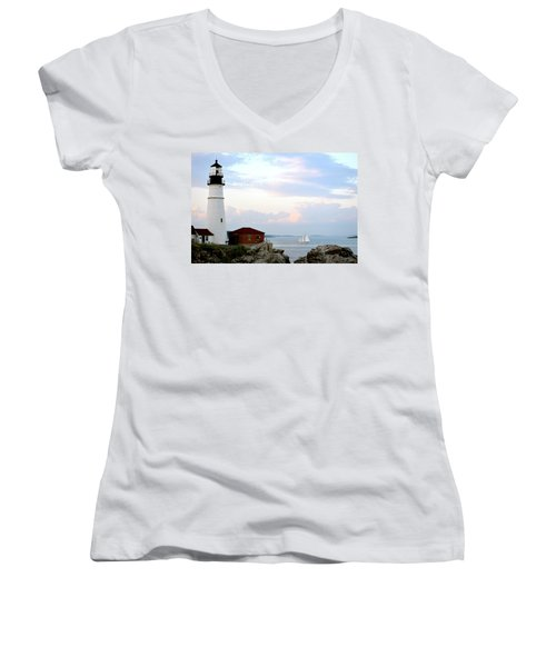 Portland Head Light Women's V-Neck
