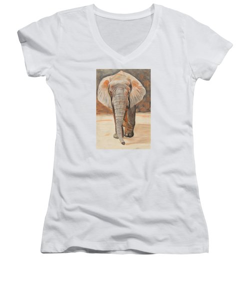 Women's V-Neck T-Shirt (Junior Cut) featuring the painting Portrait Of An Elephant by Jeanne Fischer
