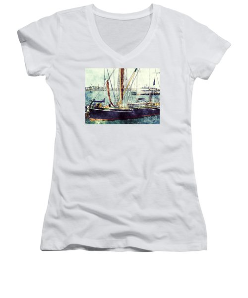 Portsmouth Harbour Boats Women's V-Neck (Athletic Fit)