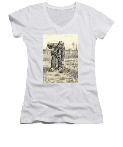 Potato Gatherer Women's V-Neck T-Shirt (Junior Cut) by Vincent Van Gogh