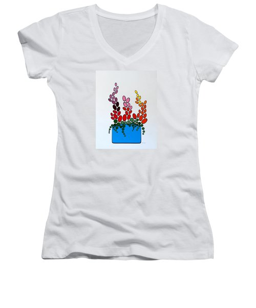 Potted Blooms - Blue Women's V-Neck T-Shirt (Junior Cut) by Thomas Gronowski