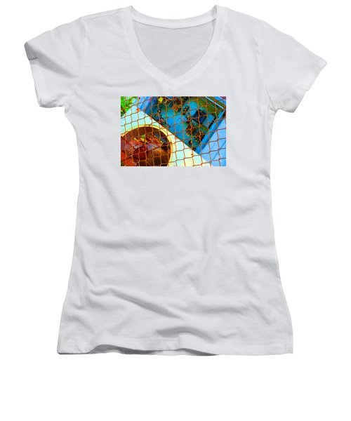 Women's V-Neck T-Shirt (Junior Cut) featuring the photograph Power Failure by Christiane Hellner-OBrien