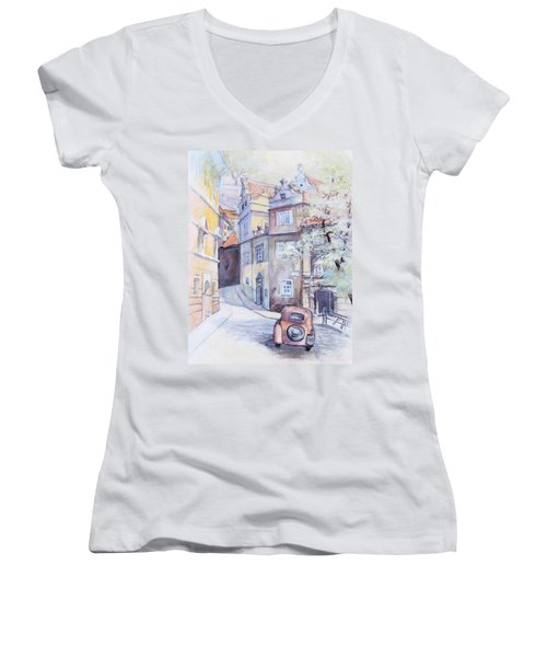 Women's V-Neck T-Shirt (Junior Cut) featuring the painting Prague Golden Well Lane by Marina Gnetetsky