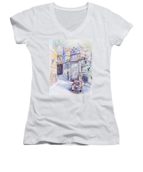 Prague Golden Well Lane Women's V-Neck T-Shirt