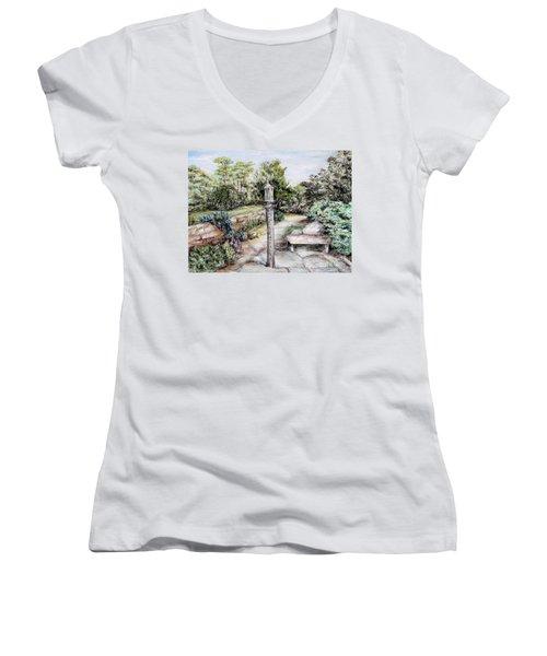Prayer Wheel Women's V-Neck T-Shirt (Junior Cut) by Danuta Bennett
