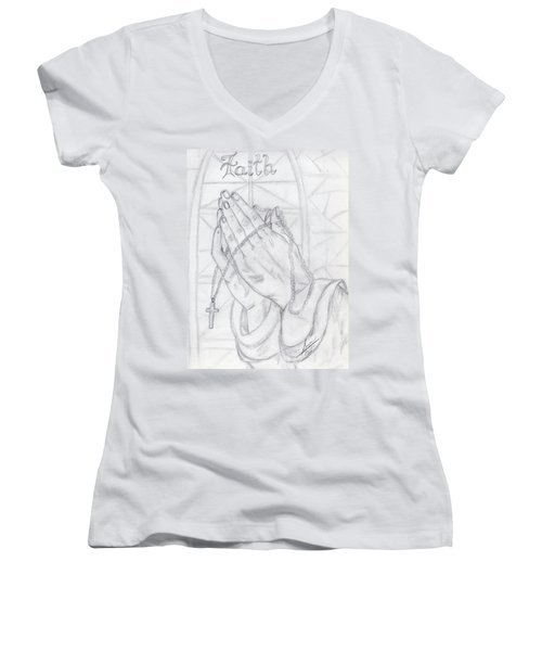 Praying Hands Women's V-Neck (Athletic Fit)
