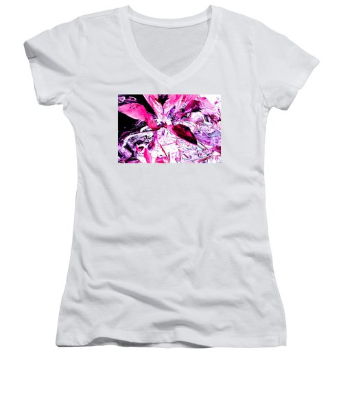 Women's V-Neck T-Shirt (Junior Cut) featuring the photograph Pretty Pink Weeds 5 by Marianne Dow