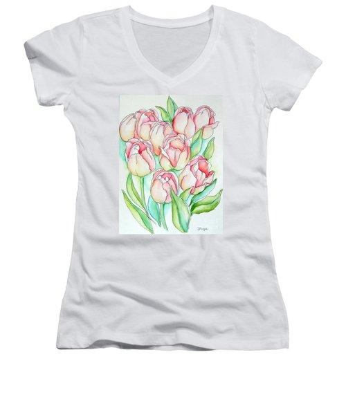 Pretty Tulips Women's V-Neck (Athletic Fit)