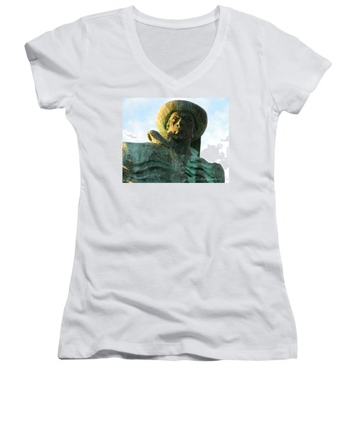 Women's V-Neck T-Shirt (Junior Cut) featuring the photograph Prince Henry The Navigator by Kathy Barney