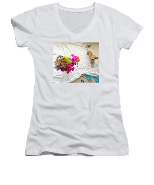 Women's V-Neck T-Shirt (Junior Cut) featuring the photograph Princess On Assignment by Angela J Wright