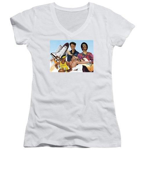 Jimi, Muhammad Ali, Wilt Chamberlain And Mae Carol Jemison Women's V-Neck