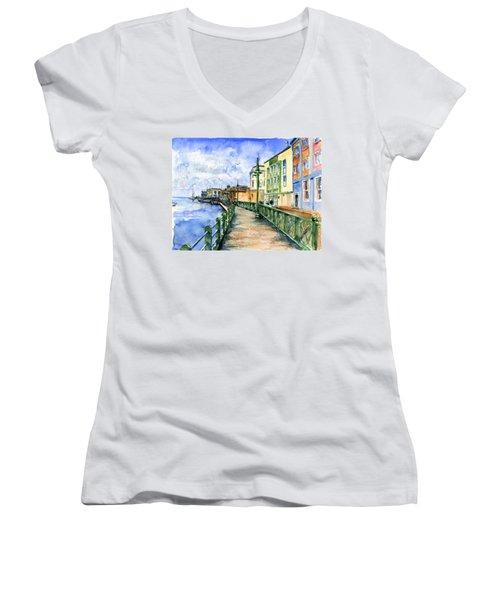 Promenade In Barbados Women's V-Neck T-Shirt (Junior Cut) by John D Benson