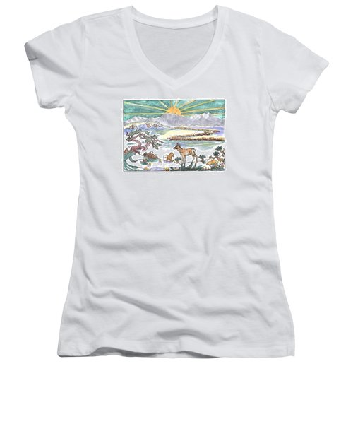 Pronghorn Winter Sunrise Women's V-Neck T-Shirt