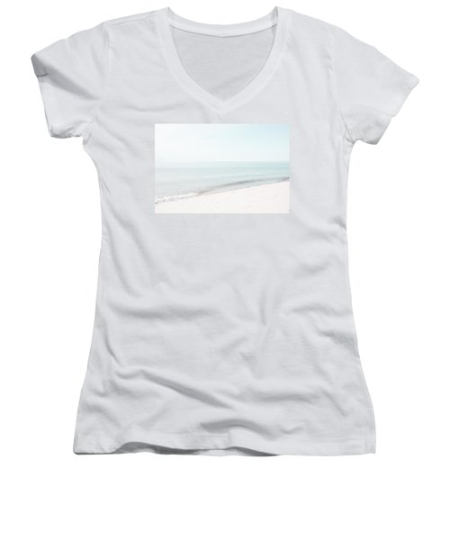Women's V-Neck T-Shirt (Junior Cut) featuring the photograph Provincetown From Ryder Beach by Brooke T Ryan