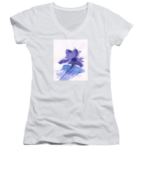 Women's V-Neck T-Shirt (Junior Cut) featuring the painting Purple Flower by Frank Bright